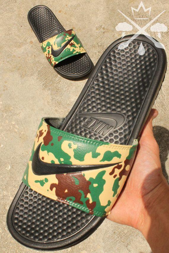 quality design 355f6 9ad8e Nike Custom Military Camouflage Benassi Swoosh Camo Slide