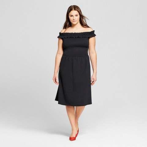 Who What Wear Women s Plus Size Ruffle Bardot Midi Dress Who What