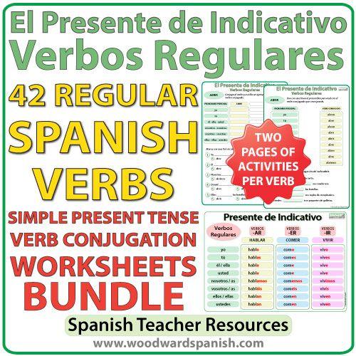 Conjugation worksheets for 42 regular Spanish verbs in the simple present tense. Actividades con la conjugación de 42 verbos regulares en el presente de indicativo.