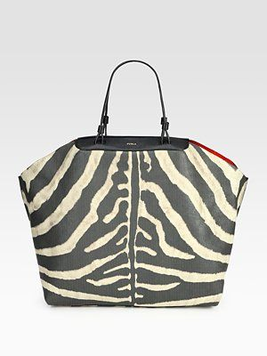 fe196e0d4014 Furla Exclusively for Saks Fifth Avenue Regina Zebra-Print Large Shopper  Inside My Bag