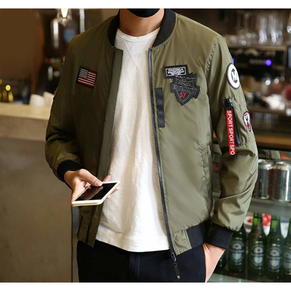 Mens Bomber Jacket With Zipper Tag Bomber Jacket Bomber Jacket Men Jackets Men Fashion [ 1000 x 1000 Pixel ]