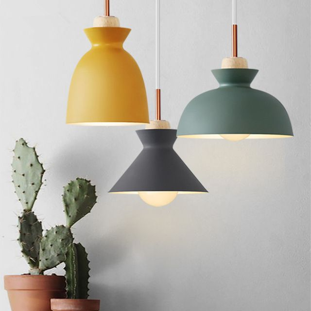 Scandinavian Modern Colorful Pendant Light Wood Metal Lampshade