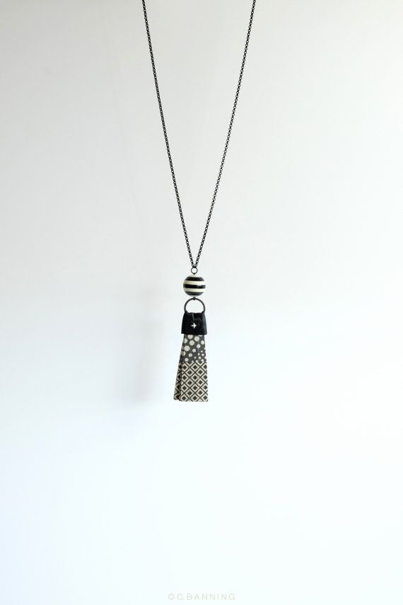 Black tassel necklace, pendant necklace in black pattern mix, statement necklace, leopard, geometric