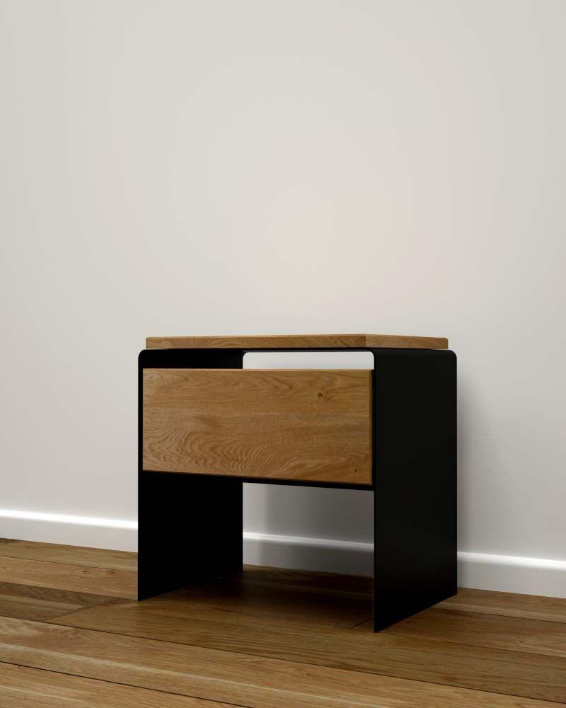Nachttisch Holz Modern Schwarz Mystery Holz Und Metall Kamin