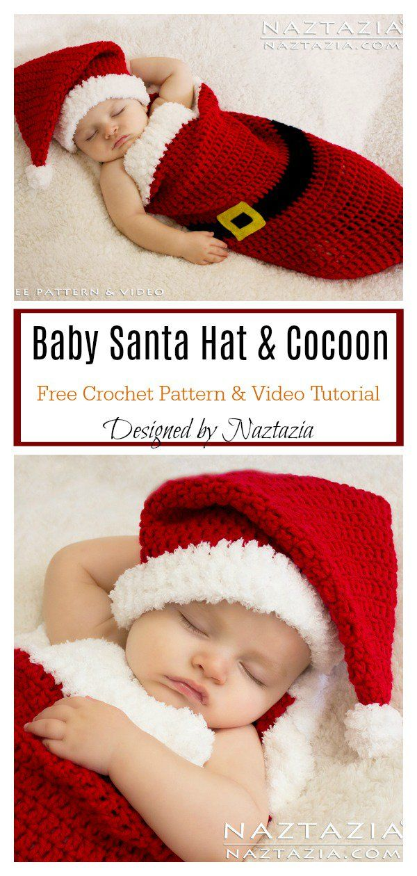 Baby Santa Hat and Cocoon Free Crochet Pattern and Video Tutorial #crochetbabycocoon