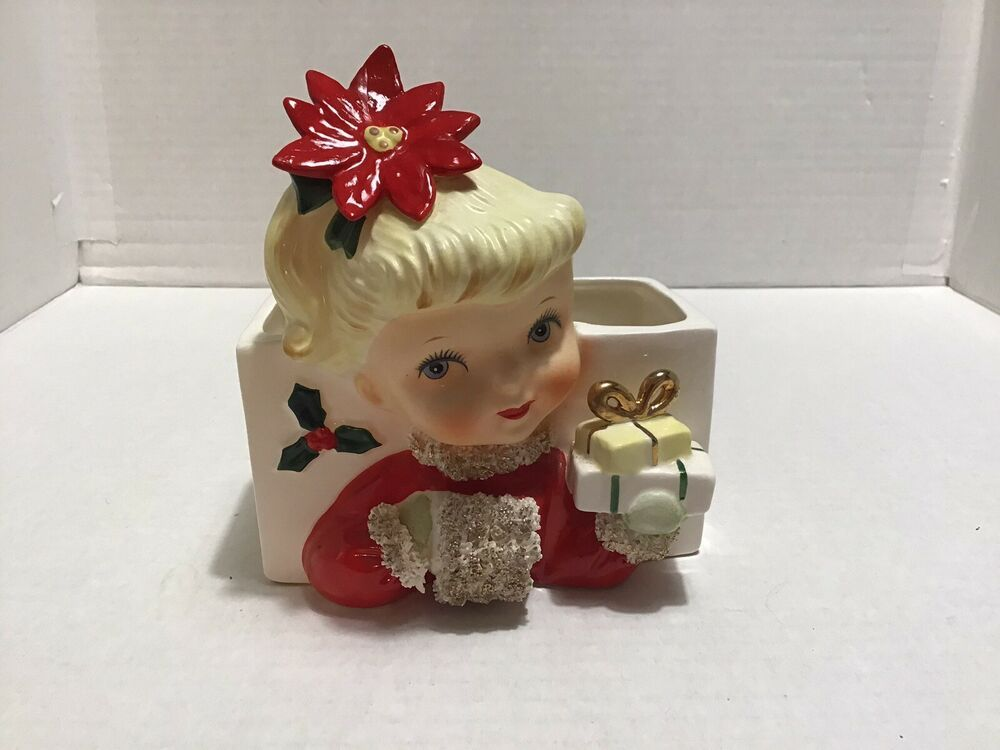 Plays White Christmas Vintage 1970/'s Interpur Girl With Bunny Rabbits Decorating Christmas Tree Ceramic Rotating Music Box Made In Taiwan