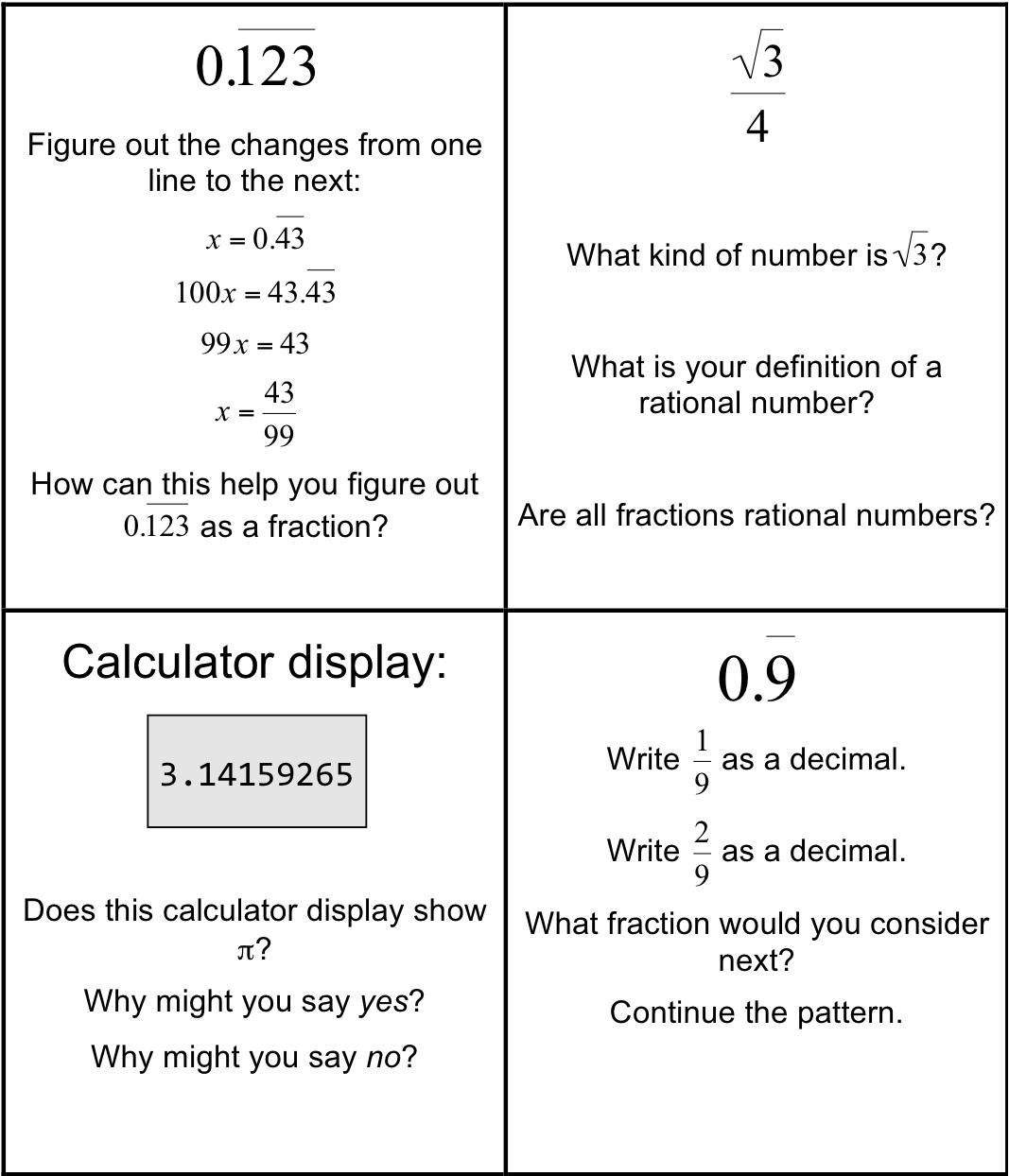 10 Math Worksheets Irrational Numbers In