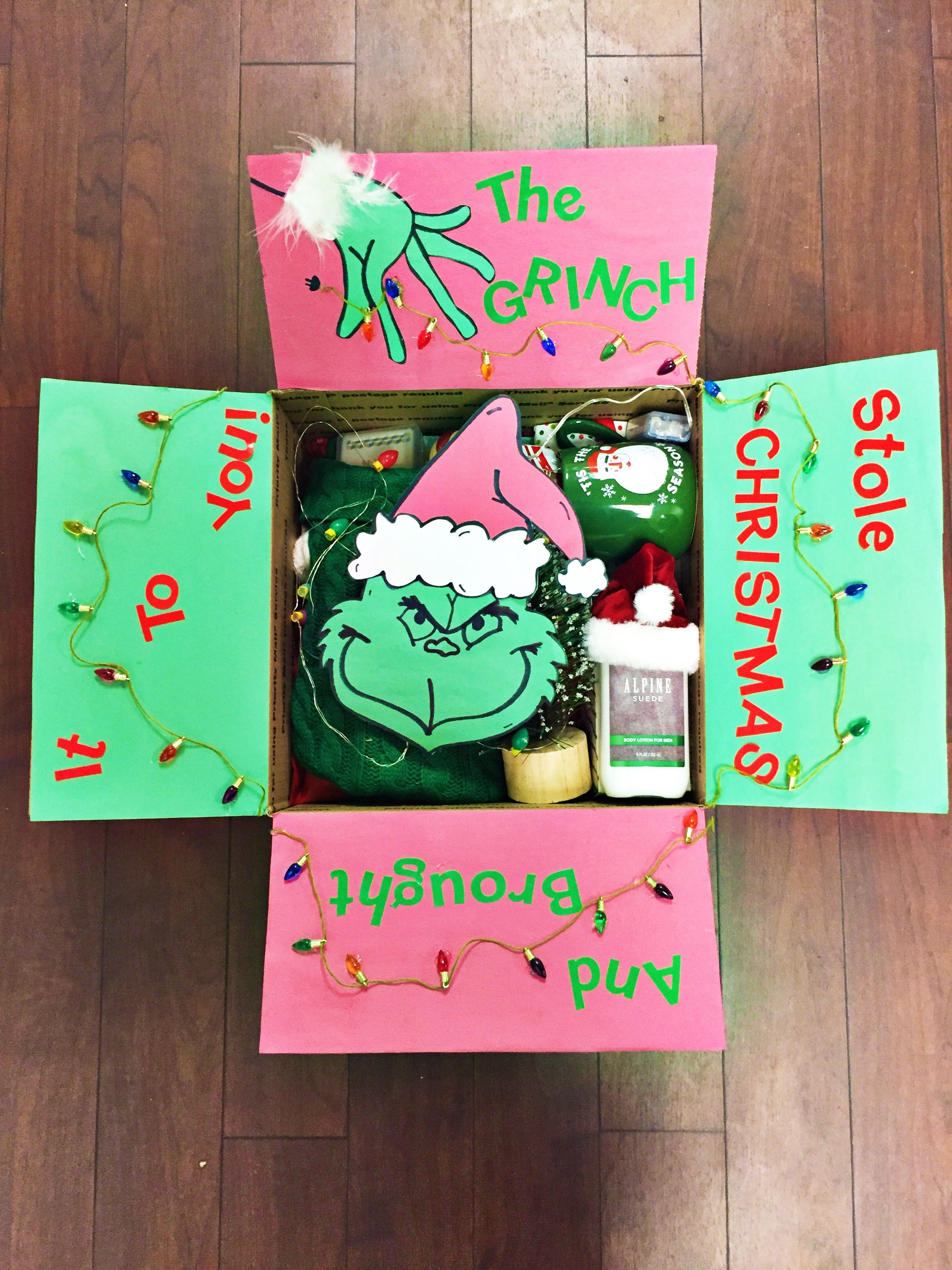 Grinch Military Care Package Full Of Christmas Decorations And Goodies