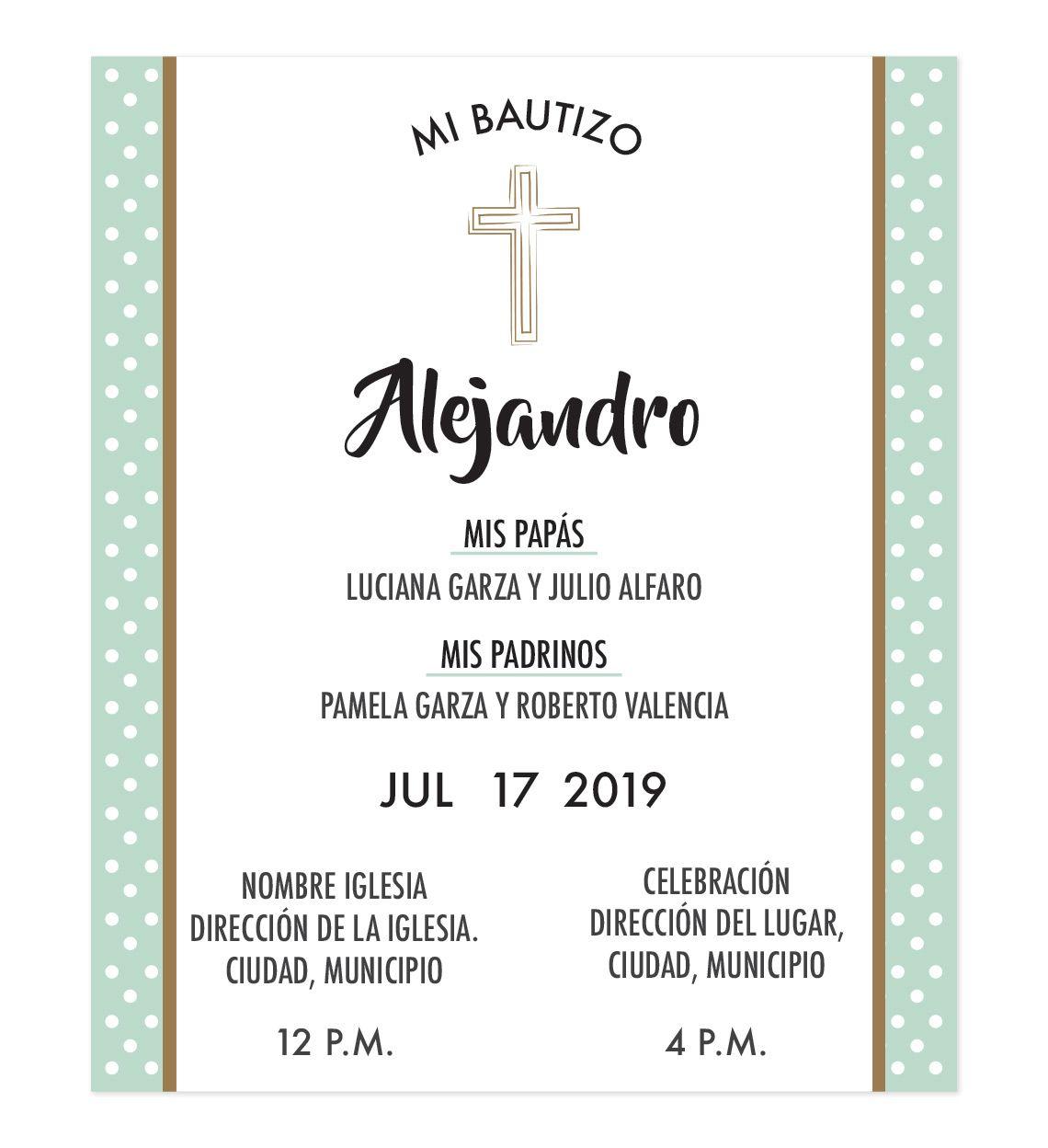 Diseño De Invitación Bautizo Verde Menta Invitaciones