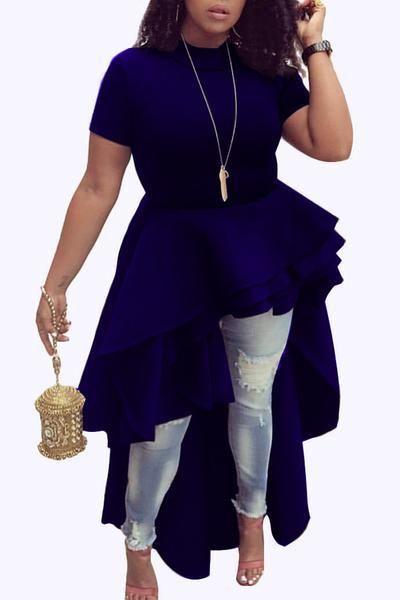 Melidress Asymmetrical Falbala Design Black Mid Calf Dress