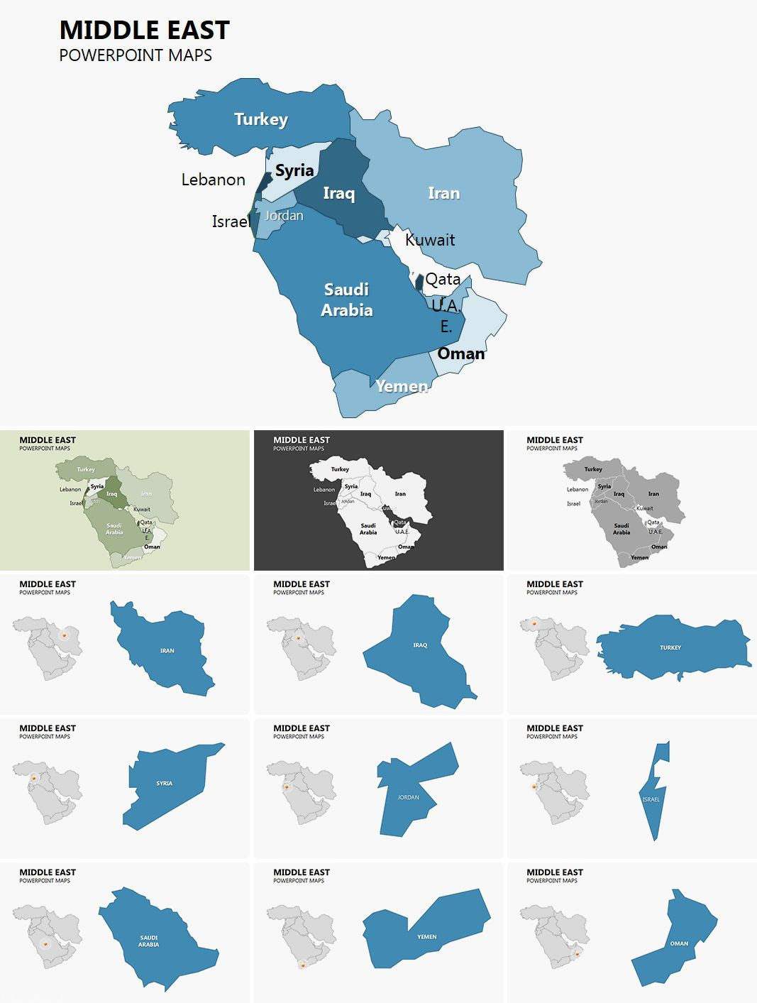 Complete Middle East PowerPoint maps PowerPoint Maps Pinterest