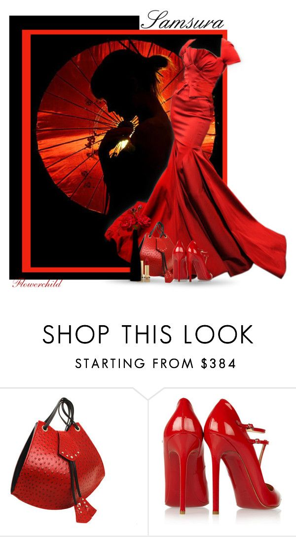 """Samsura"" by flowerchild805 ❤ liked on Polyvore featuring Zac Posen, Christian Louboutin and Yves Saint Laurent"
