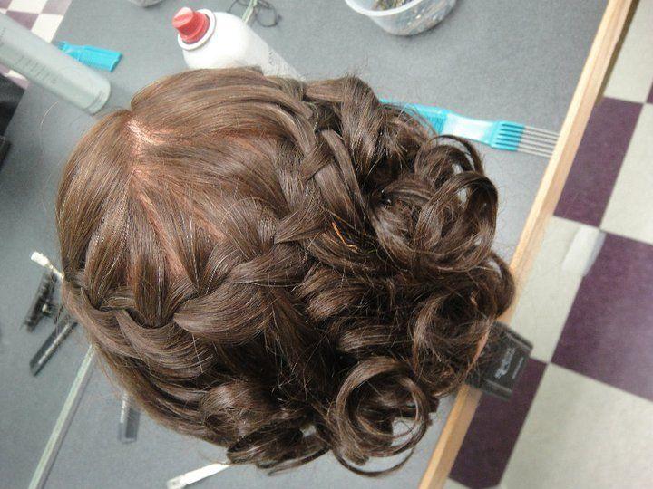 waterfall braid, curl updo   Homecoming hairstyles