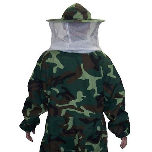 Camo Beekeeping Suit with Veil -- The Camo Beekeeping Suit with Hooded Veil offers beekeepers full-body protection from bee stings.