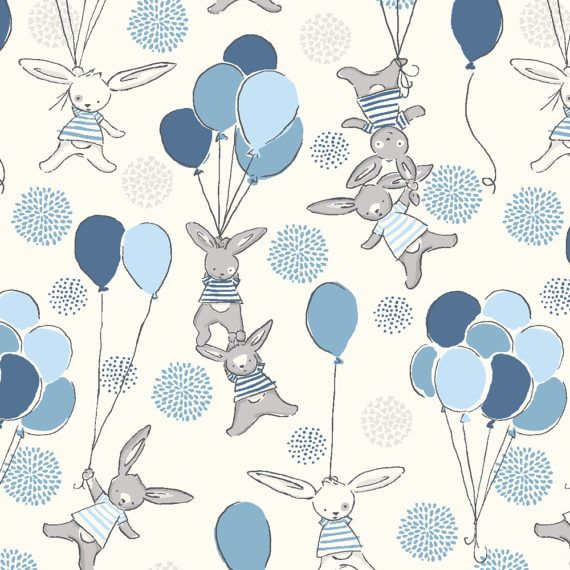 Baby Boy Blue Nursery Fabric Funny Bunny Love A Float