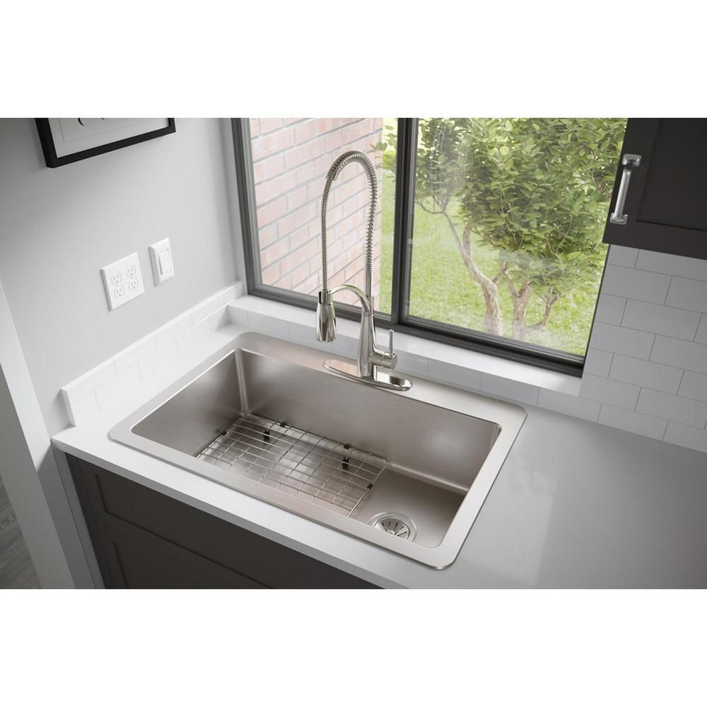 Elkay Avenue Drop In Undermount Stainless Steel 33 In Single Bowl