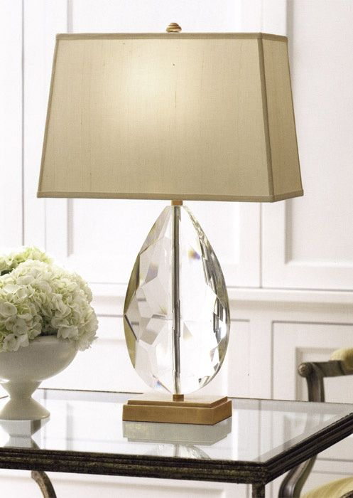 Solid Crystal Lamp With Solid Brass Base. Solid Crystal And Antiqued Solid  Brass Table Lamp. Crystal Lamp Has Rectangular Hard Back Fabric Shade