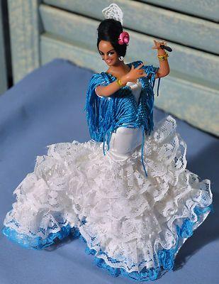 Vintage Collectible Spanish Flamingo Dancer Doll Blue White Lace
