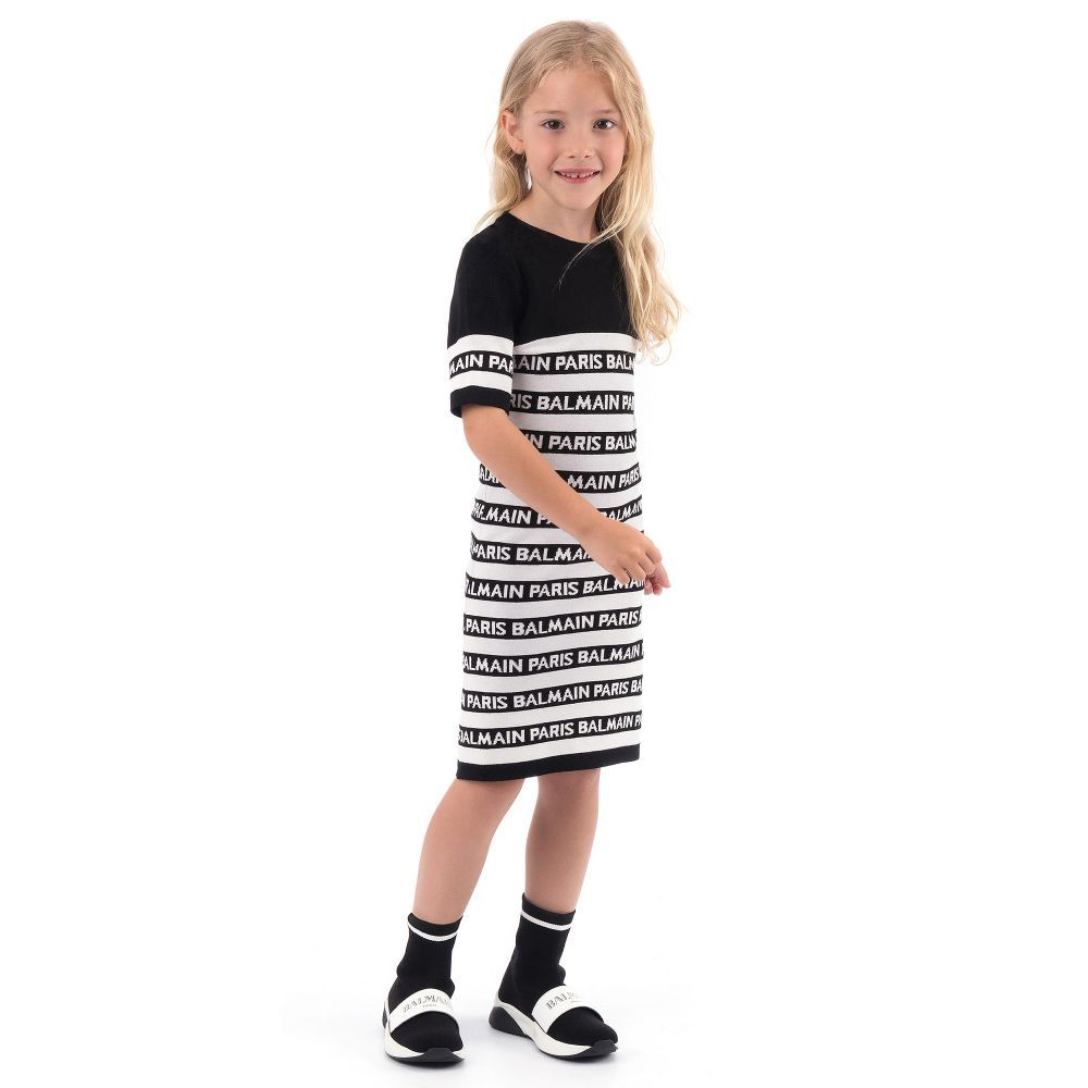 3ba2423e Balmain - Striped Knitted Logo Dress | | LOOKBOOK GIRLS BOYS ...
