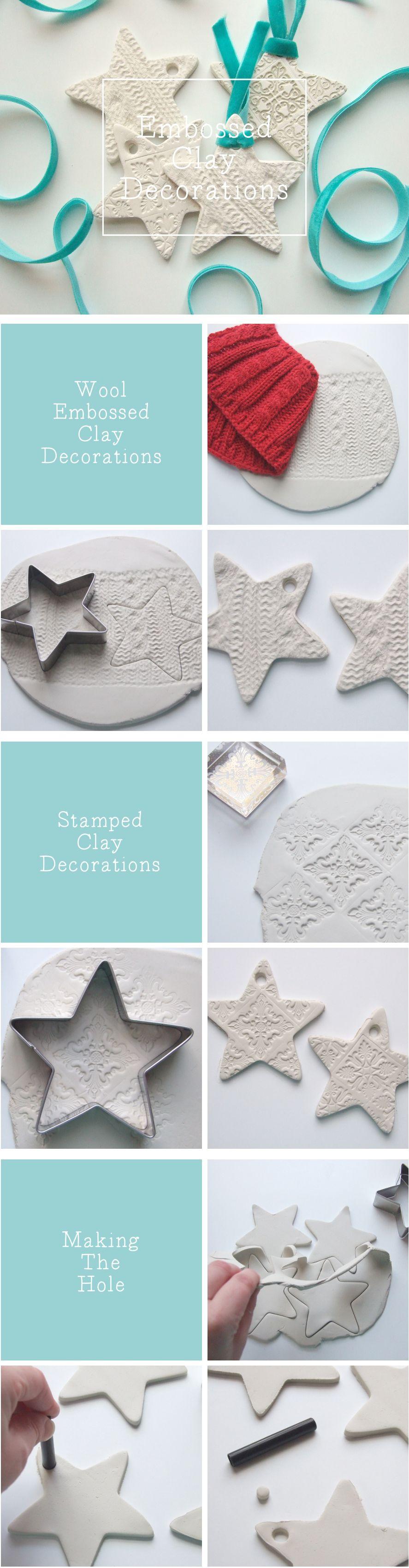 Diy Embossed Clay Star Decorations Gathering Beauty Diy Weihnachten Weihnachtsbasteln Basteln Weihnachten
