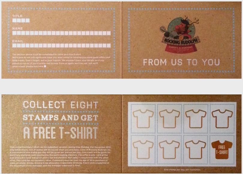 Hardys Hansons Loyalty Stamp Card Earn A Free T Shirt Loyalty Card Design Loyalty Card Stamped Cards