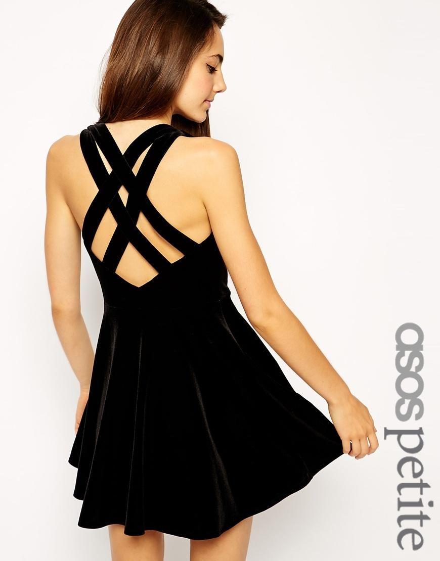 ASOS Petite   ASOS PETITE Exclusive Strappy Back Velvet Skater Dress at ASOS