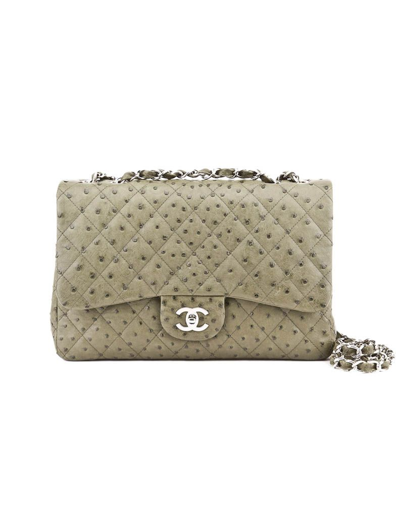 0a504e4a2a94 Light Olive Green CHANEL Classic Quilted Ostrich Handbag