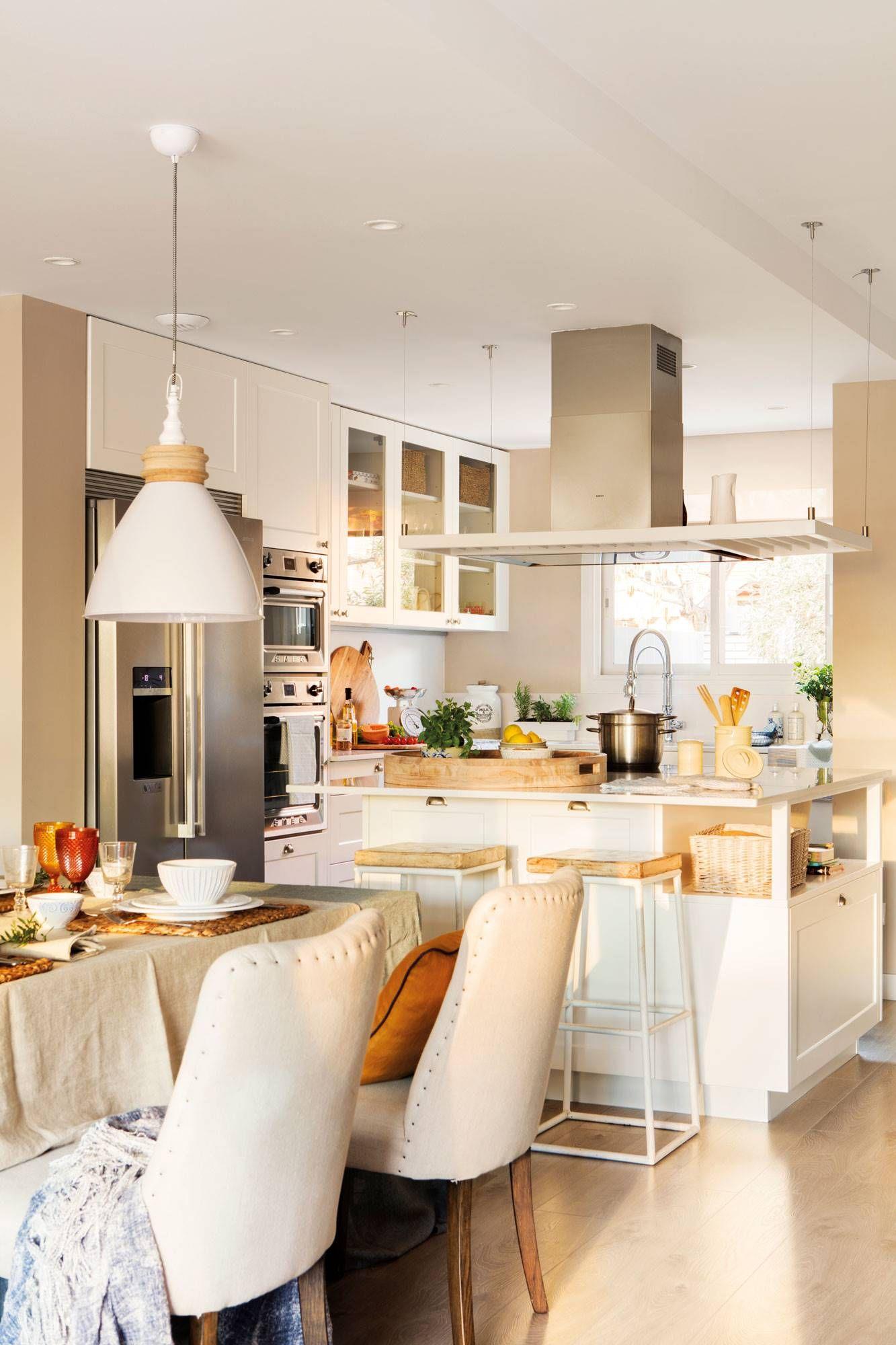 39 Cocinas Abiertas Al Comedor Y Al Salón Cocina Integrada En Salon Decoración De Cocina Cocinas De Casa