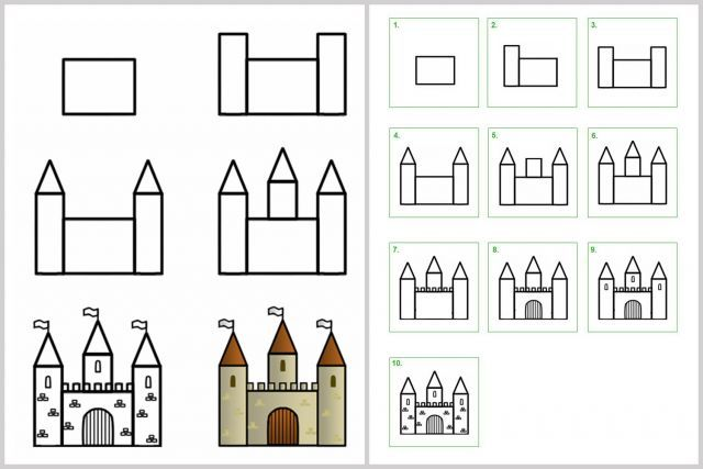 techniques faciles pour apprendre dessiner enfants ch teau dessin enfant pinterest. Black Bedroom Furniture Sets. Home Design Ideas