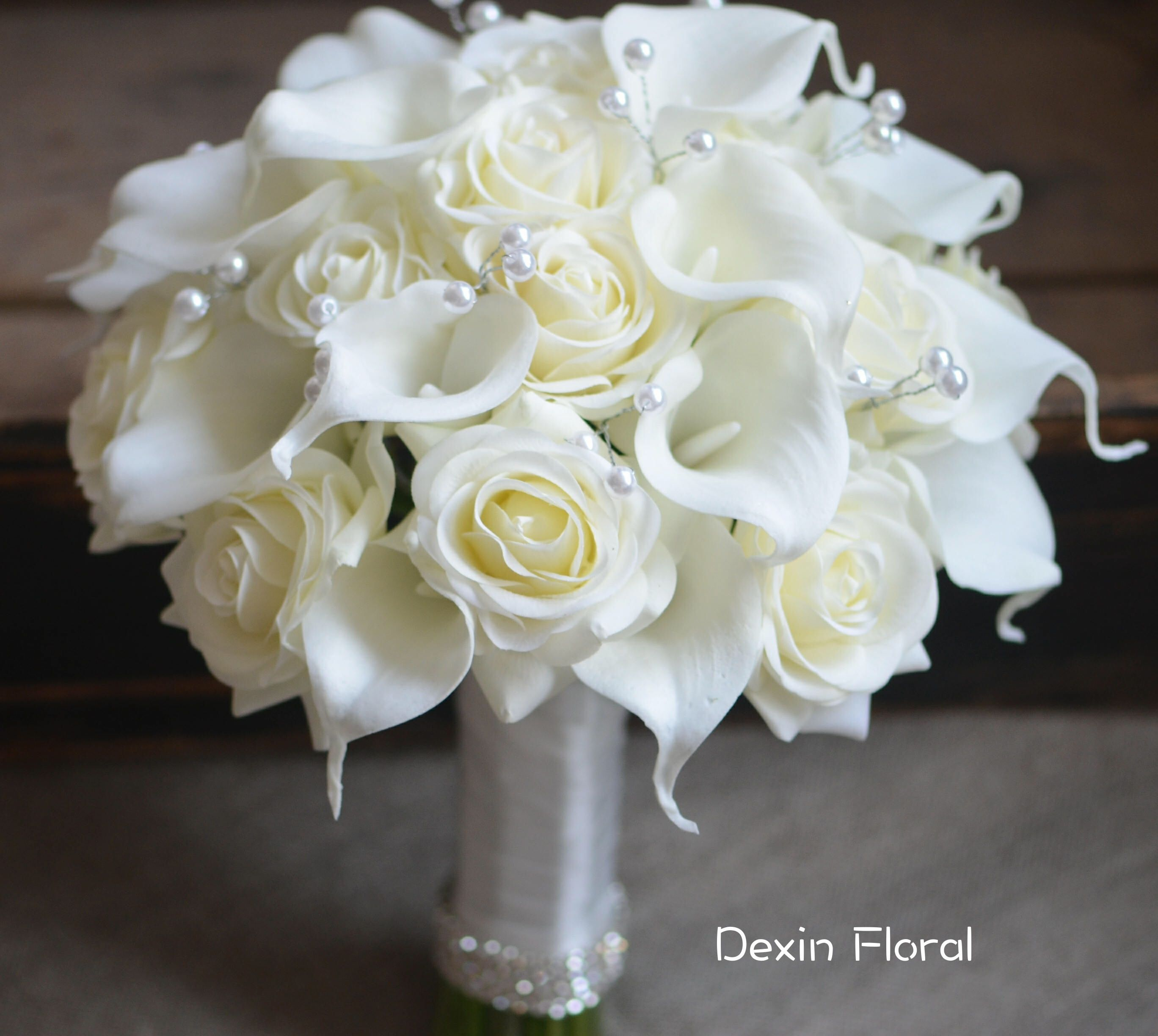 Ivory Bridal Bouquets Real Touch Roses Calla Lilies