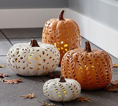 Punched Ceramic Pumpkins White Medium Pottery Barn Fall