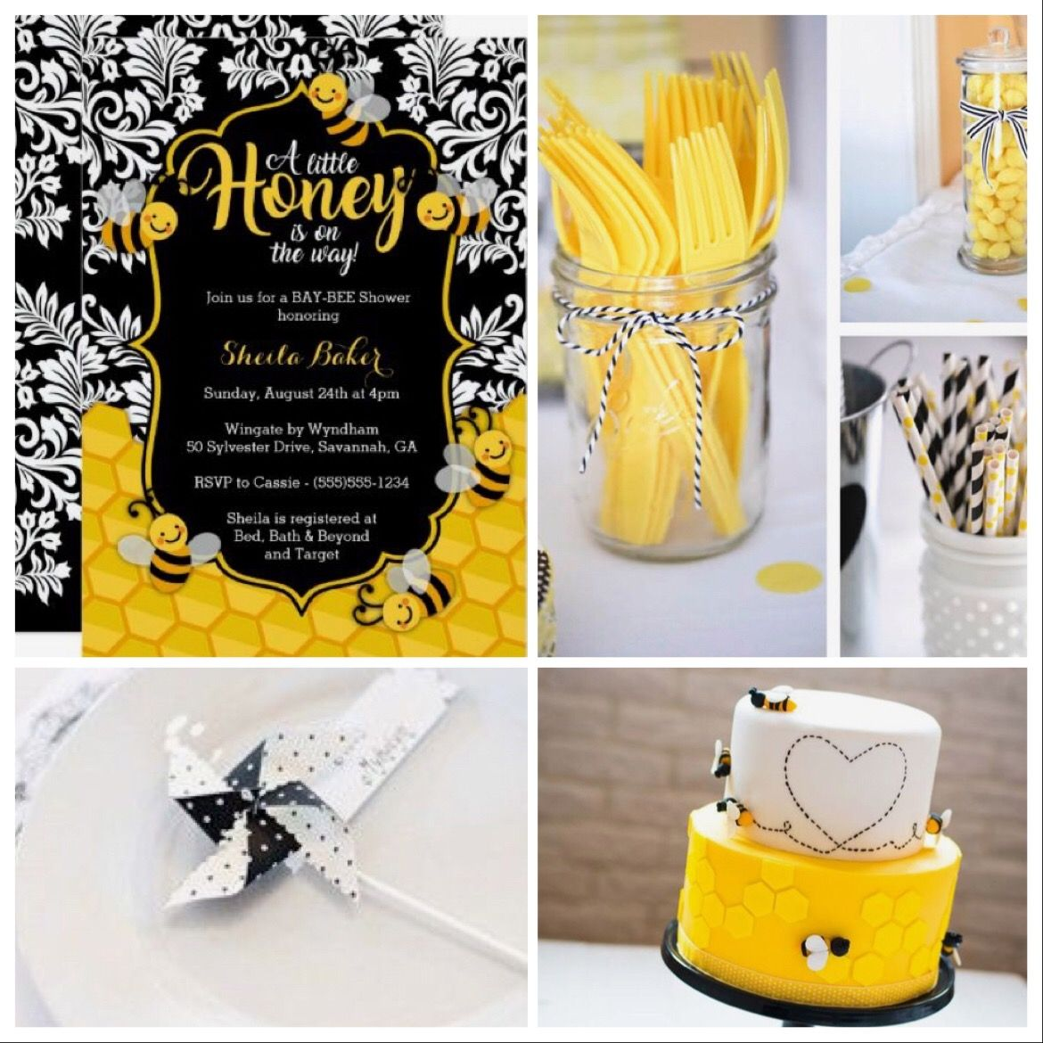 Bumble bee baby shower decorations, or bumble bee bridal shower. Black and  yellow are beautiful together! Aubabi78 at Etsy.com can make custom  pinwheel ...