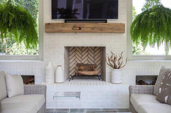 30 Stunning White Brick Fireplace Ideas Part 1 White Brick Fireplace Outdoor Fireplace Brick Outdoor Remodel