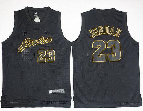 Bulls  23 Michael Jordan Black(Gold No.) Anniversary Stitched NBA Jersey b1e8f9658