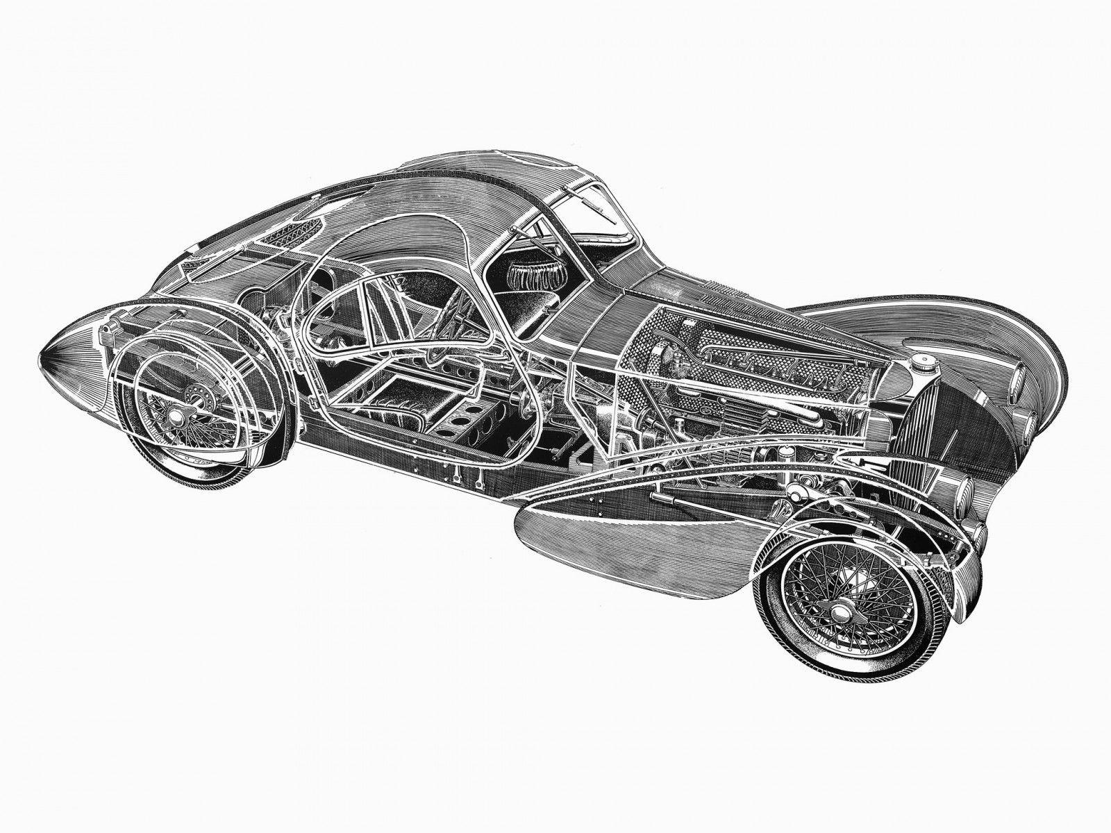 Bugatti Type 57sc Cutaway Wallpaper Bugatti Bugatti Type 57 Cutaway