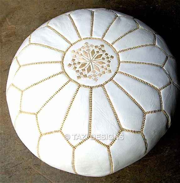 White Pouf With Gold