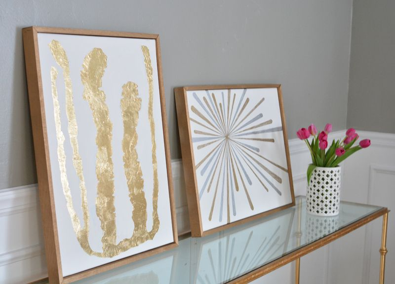 LOVE this DIY Gold Leaf Artwork, with homemade wooden canvas frames ...