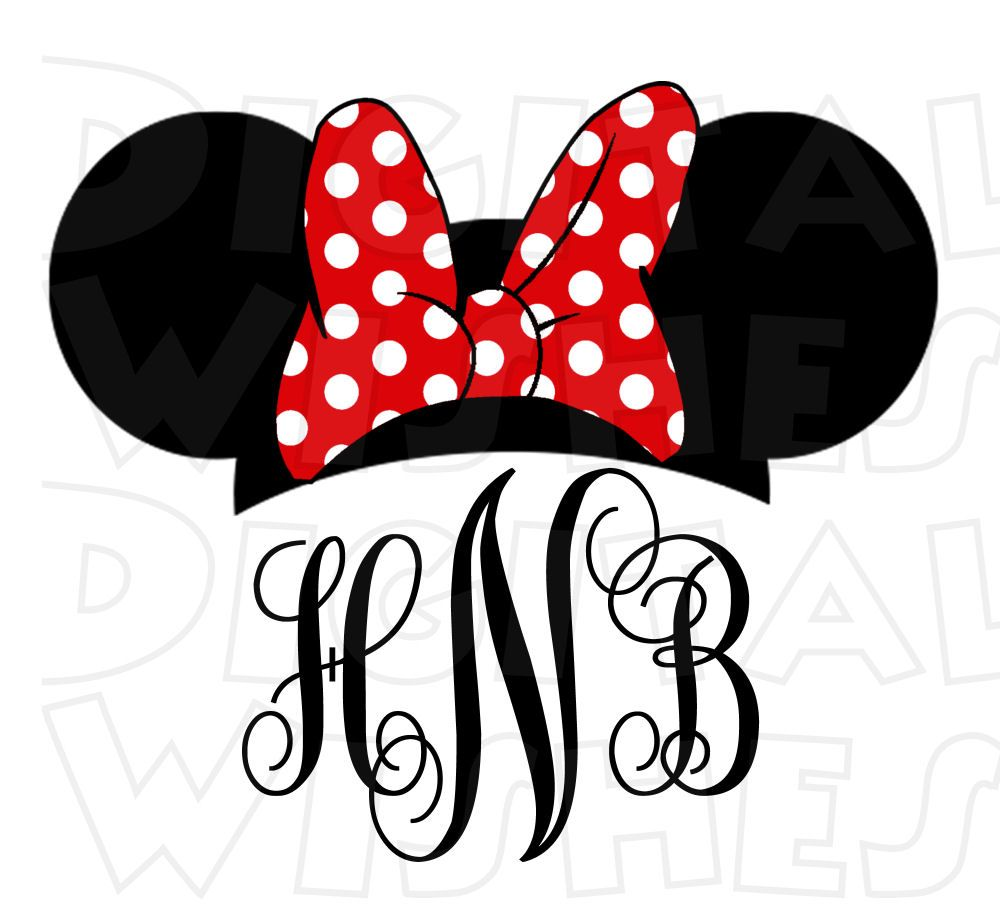 monogram minnie mouse ears pink or red personalized initials digital rh pinterest com  minnie mouse ears silhouette clip art