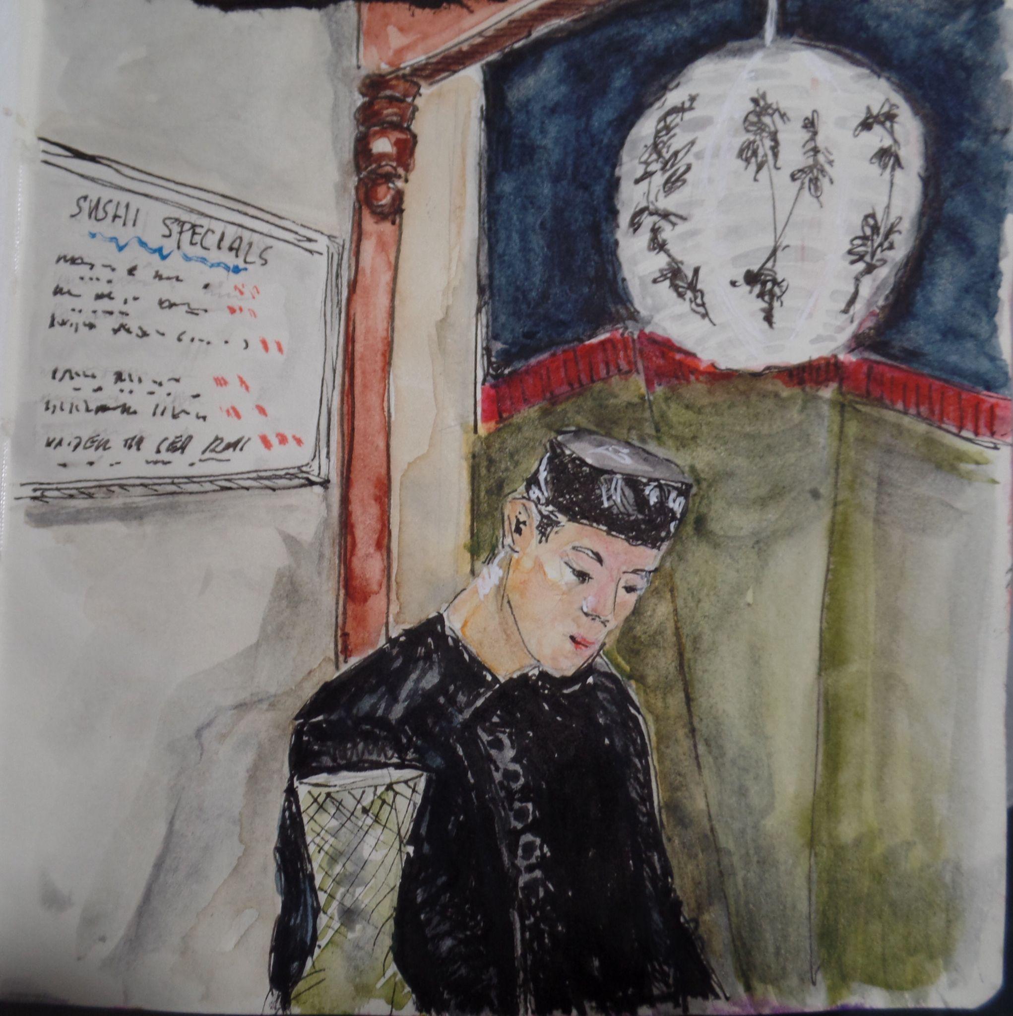 Watercolor, Sketch, Sketchbook, Sushi Bar, Urban Sketching, NB orig
