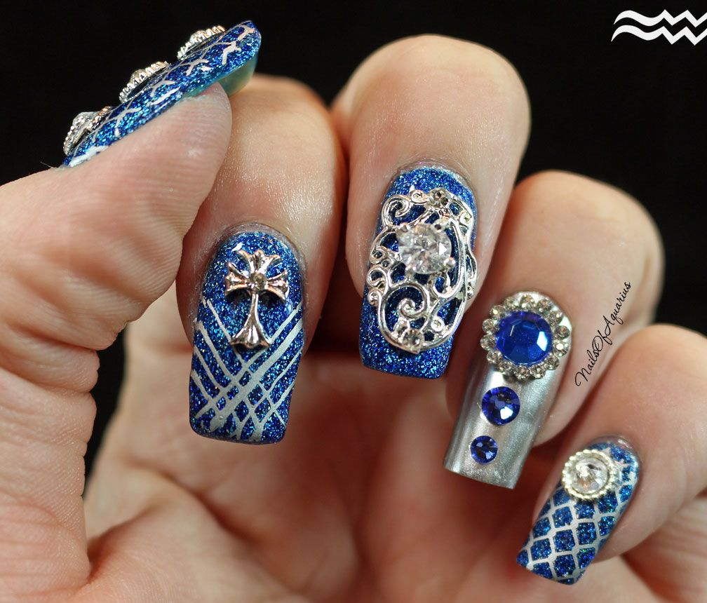 Sapphire Splendor: Jeweled Nail Art Design feat. Daily Charme ...