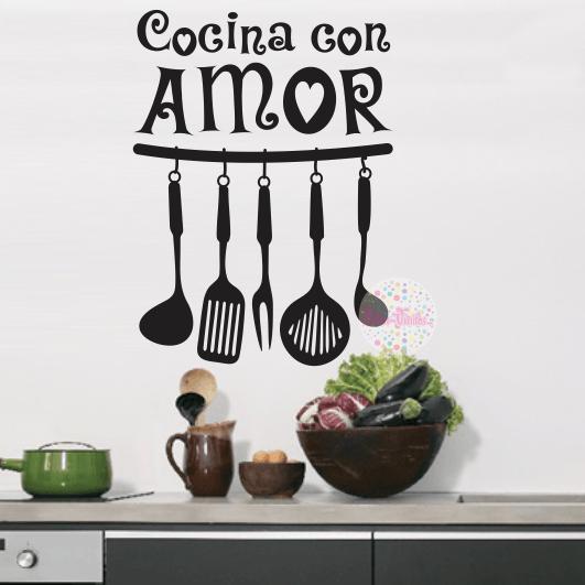 vinilo decorativo pared cocina utensilios cocina con amor