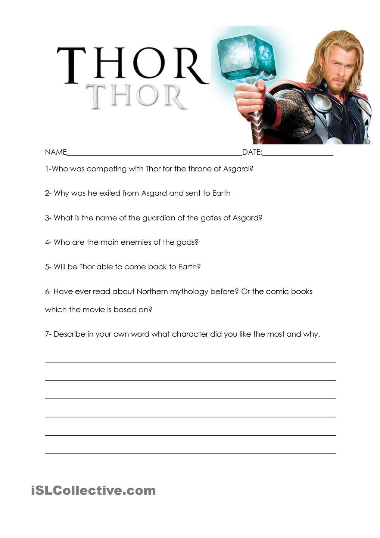 Thor movie worksheet | Thor Printables | Pinterest | Thor ...
