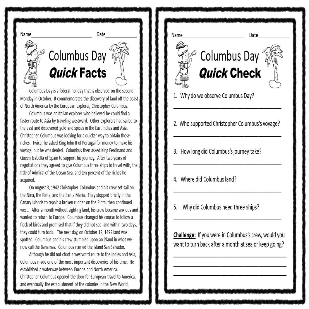 Columbus Day Reading Comprehension Printable Is Full Of