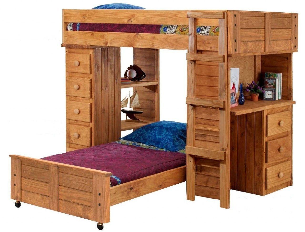Pine loft bed with desk   Wooden Loft Bunk Beds  Interior Design for Bedrooms Check more