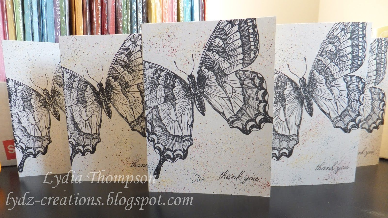 "I made these thank-you cards for family after Christmas.  Cards made using Stampin' Up ""Swallowtail"" stamp set."