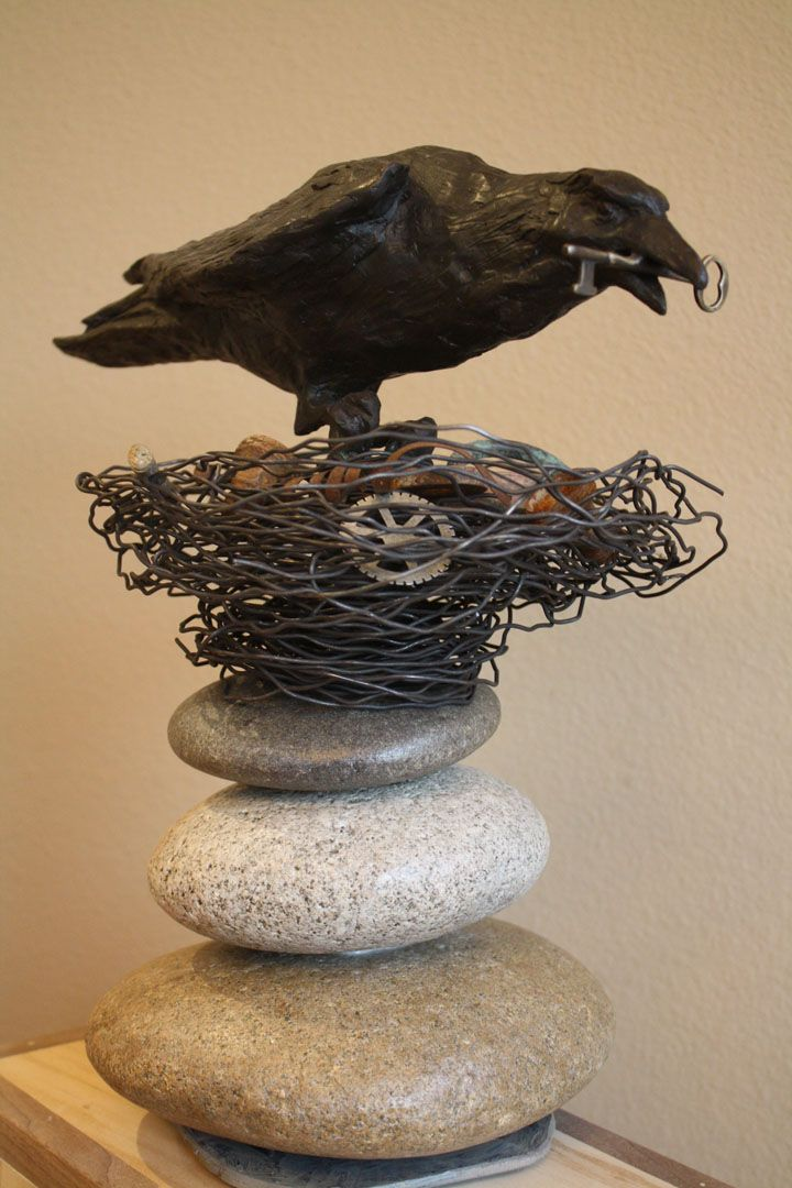 """""""Munin"""" (Memory) From Norse Mythology. Bronze, wire, found objects, stone. 14 1/2"""" Tall X 15"""" Wide"""