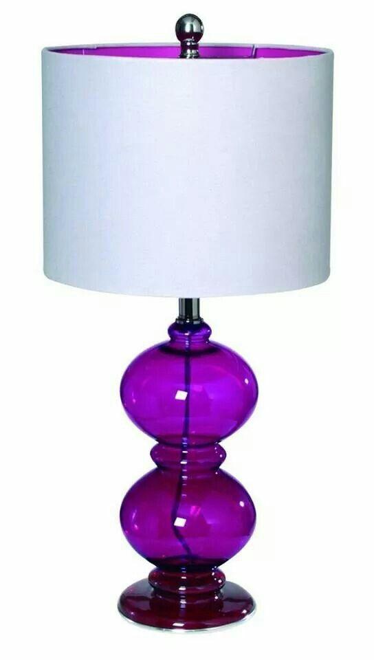 bright purple glass lamp, white shade with purple liner, pantone ...