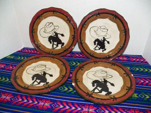 Sonoma WESTERN Cowboy Dinnerware HAPPY TRAILS 9\  SALAD Dessert Plates Plate Set & Sonoma WESTERN Cowboy Dinnerware HAPPY TRAILS 9\