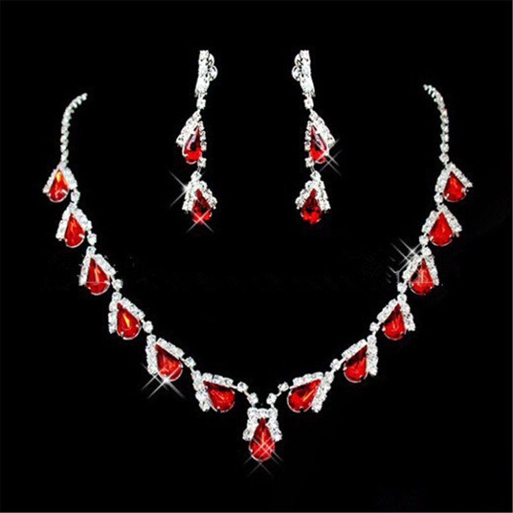 15c793b49633 Conjunto. 18K Oro Blanco GP Rojo Rubí diamantes de imitación de cristal  pendientes de lágrima Collar conjuntos