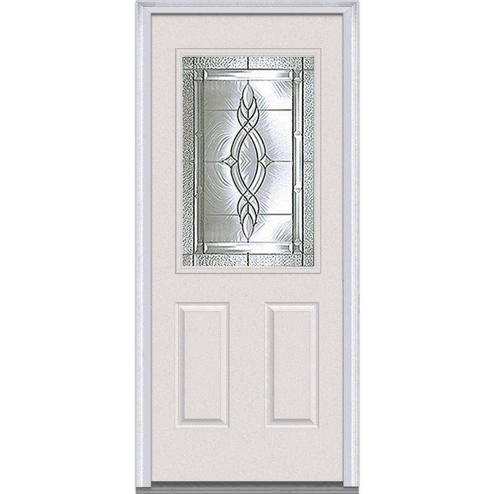 Superbe Brentwood Decorative Glass 1/2 Lite 2 Panel Primed White Majestic Steel  Prehung Front Door